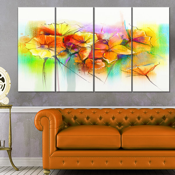 Designart Bright Yellow Gerbera And Daisies LargeFloral Canvas Art Print - 4 Panels