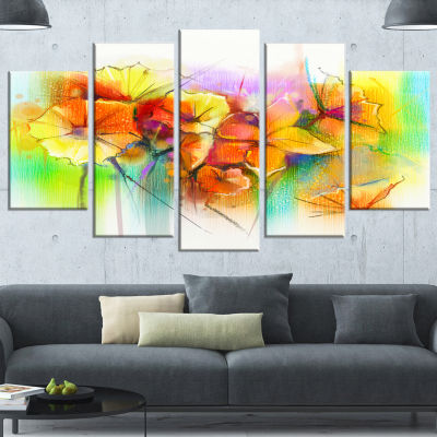 Bright Yellow Gerbera And Daisies Large Floral Wrapped Canvas Art Print - 5 Panels