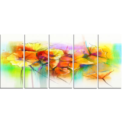 Bright Yellow Gerbera And Daisies Large Floral Canvas Art Print - 5 Panels