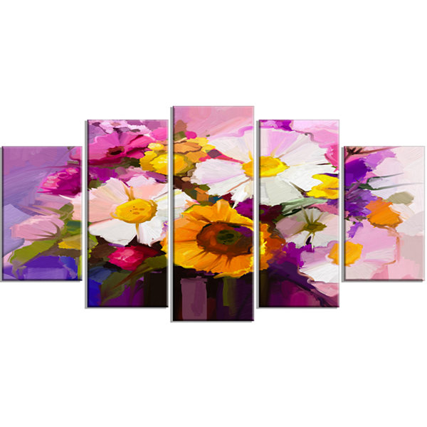 Design Art Bunch Of White Red Yellow Flowers LargeFloral Wrapped Canvas Art Print - 5 Panels