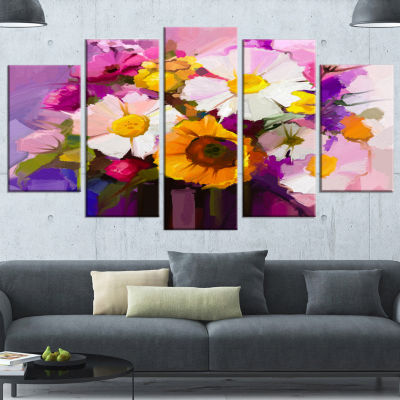 Designart Bunch Of White Red Yellow Flowers LargeFloral Canvas Art Print - 5 Panels