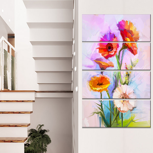 Design Art Bouquet Of Red White Flowers Large Floral Canvas Art Print - 4 Panels