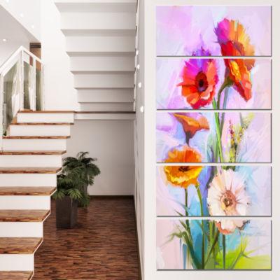 Designart Bouquet Of Red White Flowers Large Floral Canvas Art Print  - 5 Panels