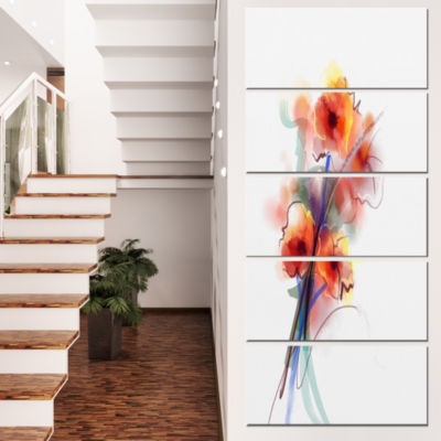 Designart Soft Color Flowers On White BackgroundLarge Floral Canvas Art Print  - 5 Panels