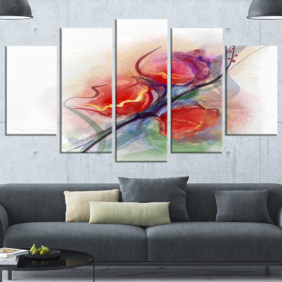 Designart Soft Floral Watercolor On Splashes LargeFloral Wrapped Canvas Art Print - 5 Panels