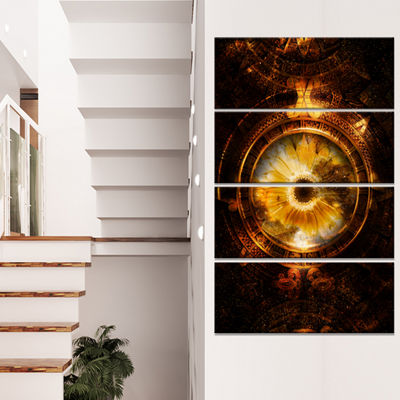 Designart Ancient Mayan Calendar Collage AbstractWall Art Print On Canvas - 4 Panels
