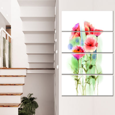 Designart Red Poppy Flowers Watercolor Sketch Large Floral Canvas Art Print - 4 Panels