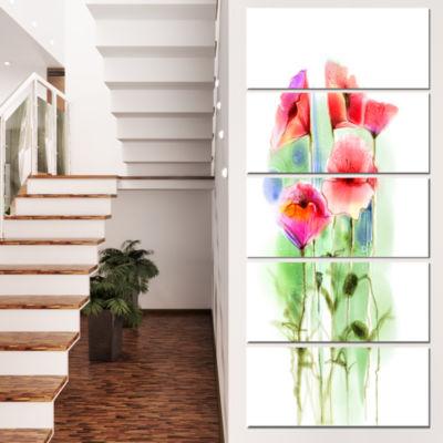 Designart Red Poppy Flowers Watercolor Sketch Large Floral Canvas Art Print - 4 Panels