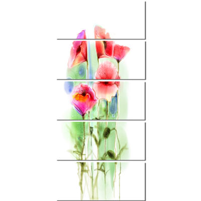 Designart Red Poppy Flowers Watercolor Sketch Large Floral Canvas Art Print  - 5 Panels