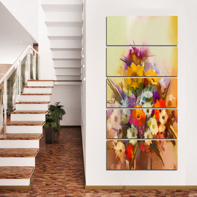 Designart Hand Painted Bouquet Of Flowers Large Floral Canvas Art Print  - 5 Panels