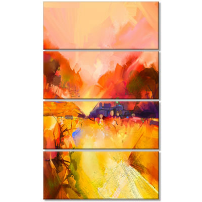Designart Colorful Yellow Red Floral Background Large Floral Canvas Art Print - 4 Panels
