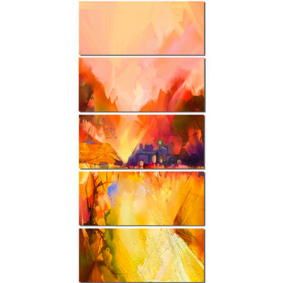 Designart Colorful Yellow Red Floral Background Large Floral Canvas Art Print  - 5 Panels