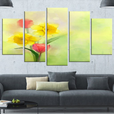 Designart Tulips And Daffodils In Soft Color AndBlur LargeFloral Canvas Art Print - 5 Panels