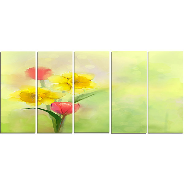 Design Art Tulips And Daffodils In Soft Color AndBlur Floral Canvas Art Print - 5 Panels