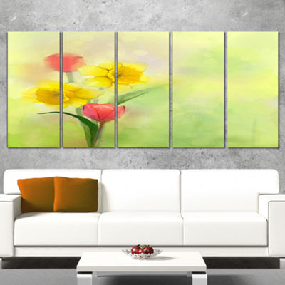 Designart Tulips And Daffodils In Soft Color AndBlur Floral Canvas Art Print - 5 Panels