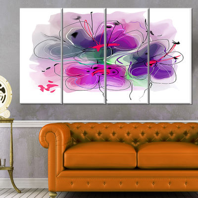 Designart Purple Flower Illustration Sketch FloralCanvas Art Print - 4 Panels