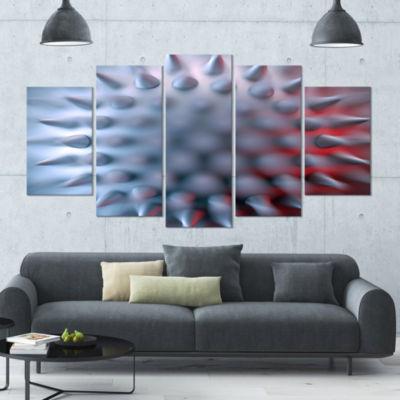 Designart Macro Prickly Texture Design Abstract Canvas Wall Art - 5 Panels
