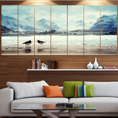 Designart Birds And Mountain Peak Seashore Wall Art On Wrapped Canvas - 5 Panels