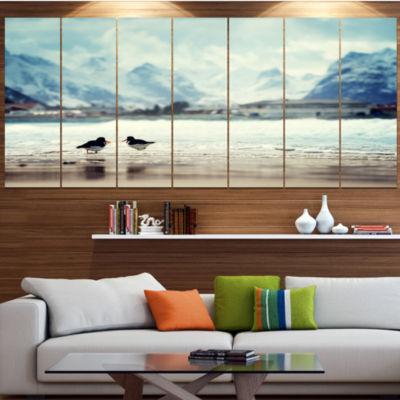 Design Art Birds And Mountain Peak Seashore Wall Art On Canvas - 5 Panels