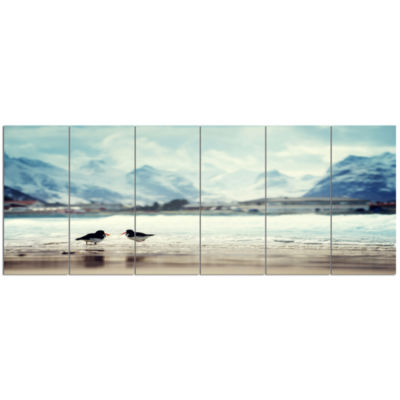 Birds And Mountain Peak Seashore Wall Art On Canvas - 6 Panels