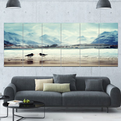 Designart Birds And Mountain Peak Seashore Wall Art On Canvas - 6 Panels
