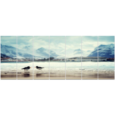 Birds And Mountain Peak Seashore Wall Art On Canvas - 7 Panels