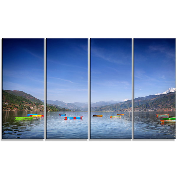 Designart Boats In Pokhara Lake Modern Seashore Canvas Wall Art - 4 Panels