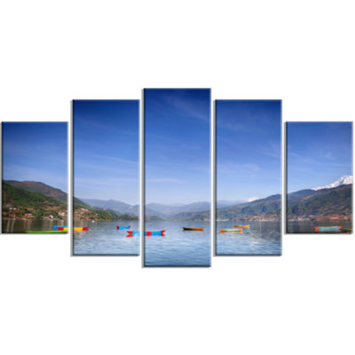 Designart Boats In Pokhara Lake Modern Seashore Wrapped Canvas Wall Art - 5 Panels
