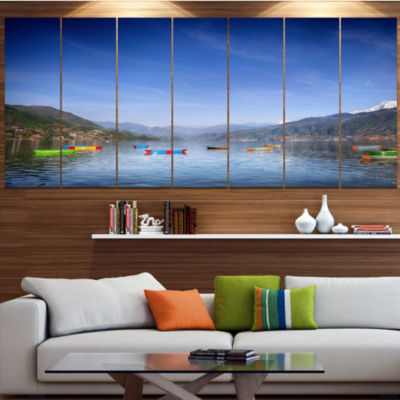 Designart Boats In Pokhara Lake Modern Seashore Canvas Wall Art - 7 Panels