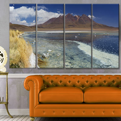 Designart Desert Lake Laguna Canapa On Sunny DayModern Seashore Canvas Wall Art - 4 Panels