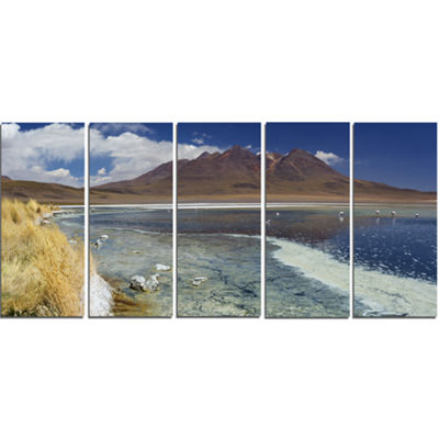 Designart Desert Lake Laguna Canapa On Sunny DayModern Seashore Canvas Wall Art - 5 Panels