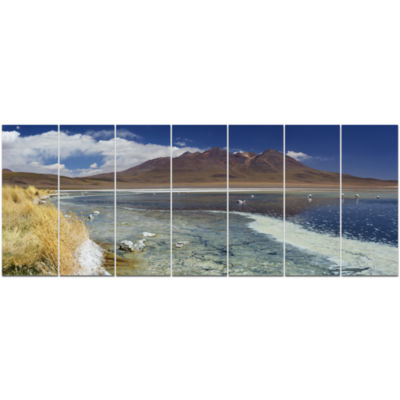 Desert Lake Laguna Canapa On Sunny Day Modern Seashore Canvas Wall Art - 7 Panels