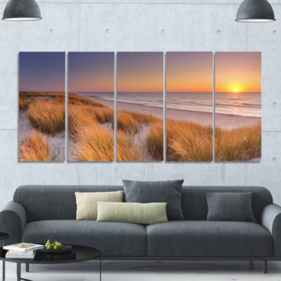 Sunset On Texel Island Beach Modern Seashore Canvas Wall Art - 5 Panels