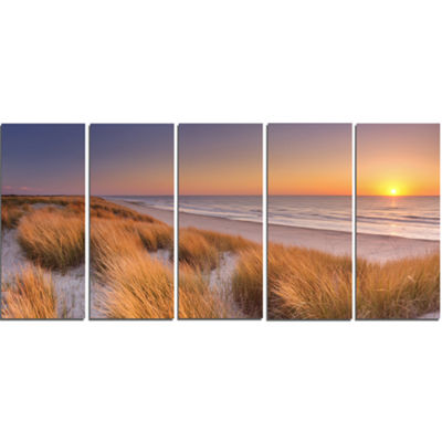 Designart Sunset On Texel Island Beach Modern Seashore Canvas Wall Art - 5 Panels