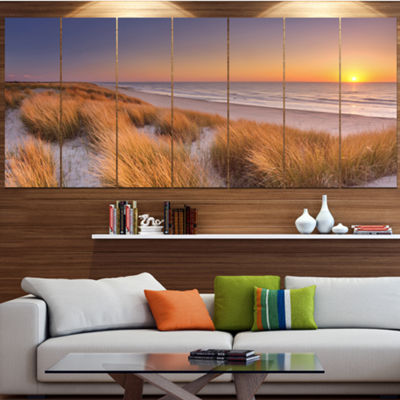 Designart Sunset On Texel Island Beach Modern Seashore Canvas Wall Art - 6 Panels