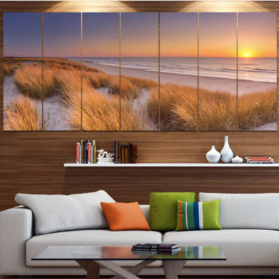 Designart Sunset On Texel Island Beach Modern Seashore Canvas Wall Art - 7 Panels