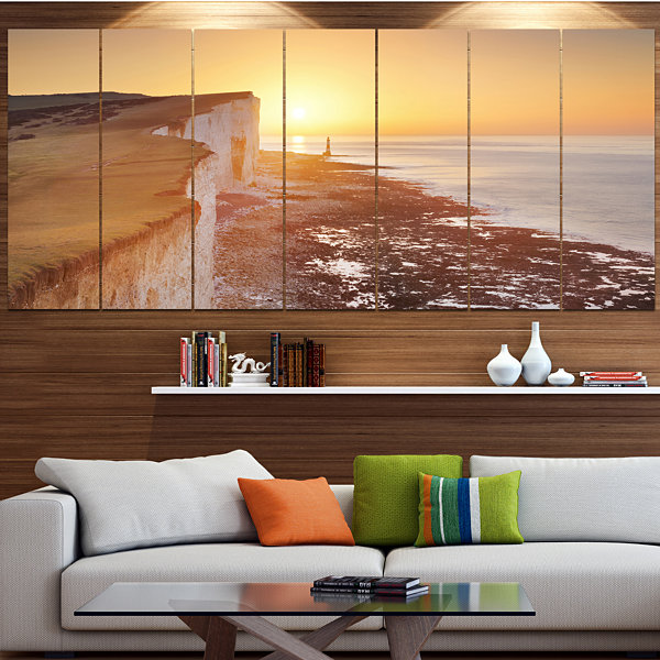 Designart Sunrise Over South Coast Of England Modern Seashore Canvas Wall Art - 5 Panels