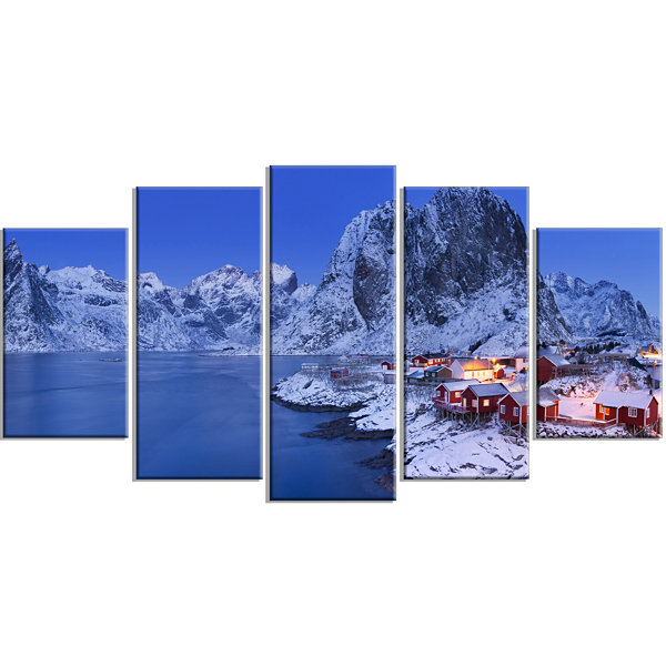 Designart Fishermen Cabins In Winter Modern Seashore Wrapped Canvas Wall Art - 5 Panels