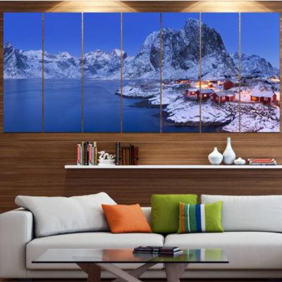 Fishermen Cabins In Winter Modern Seashore WrappedCanvas Wall Art - 5 Panels