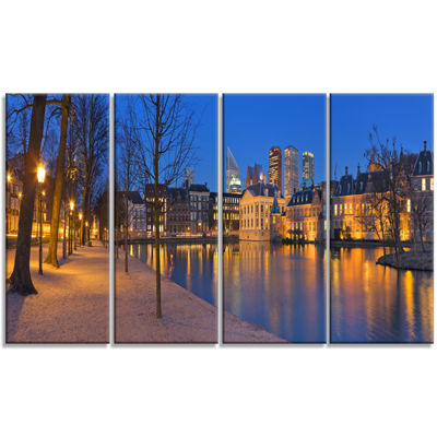 Designart Binnenhof In The Hague Panorama ModernSeashore Canvas Wall Art - 4 Panels