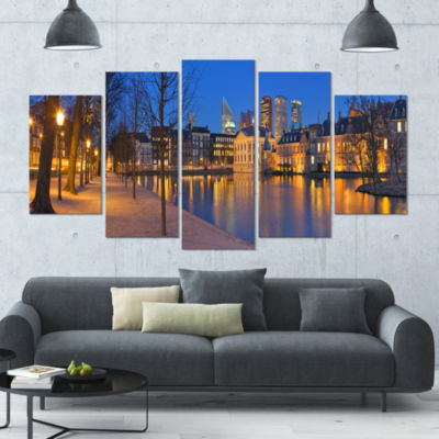 Binnenhof In The Hague Panorama Modern Seashore Wrapped Canvas Wall Art - 5 Panels