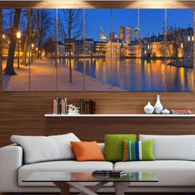 Designart Binnenhof In The Hague Panorama ModernSeashore Canvas Wall Art - 6 Panels