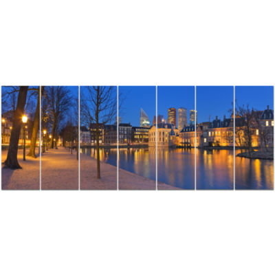 Binnenhof In The Hague Panorama Modern Seashore Canvas Wall Art - 7 Panels