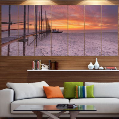 Designart Texel Island Seaside Jetty Panorama Modern Seashore Wrapped Canvas Wall Art - 5 Panels