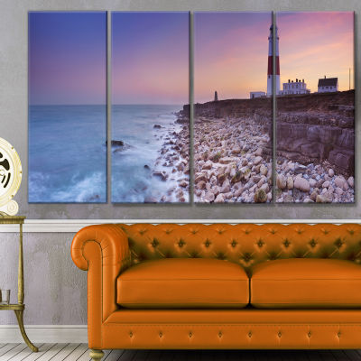 Portland Bill Lighthouse In Dorset Modern SeashoreCanvas Wall Art - 4 Panels
