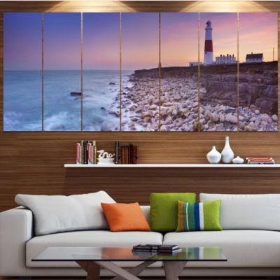Designart Portland Bill Lighthouse In Dorset Modern SeashoreCanvas Wall Art - 7 Panels