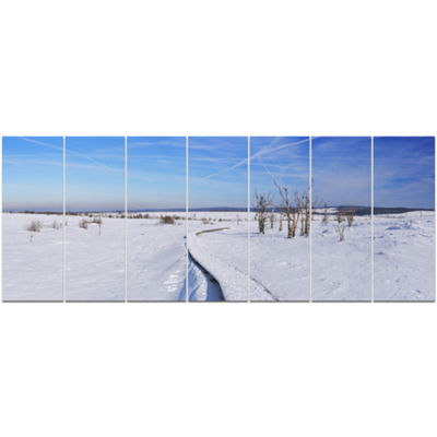 Designart Hautes Fagnes In Belgium Panorama ModernSeashoreCanvas Wall Art - 7 Panels