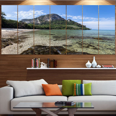 Designart Koh Mook Coast Line Modern Seashore Canvas Wall Art - 7 Panels
