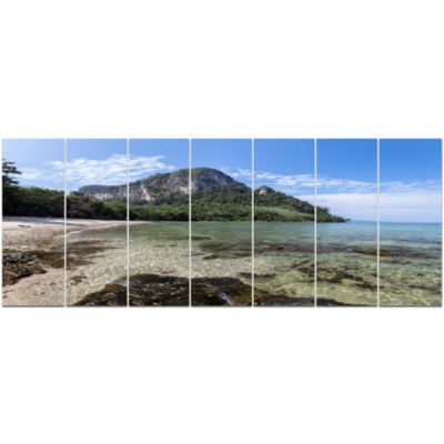 Koh Mook Coast Line Modern Seashore Canvas Wall Art - 7 Panels