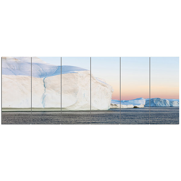 Designart Greenland Ices Of Polar Regions ModernSeashore Canvas Wall Art - 6 Panels